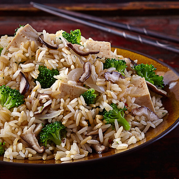 Chinese Stir-Fried Rice with Shiitake Mushrooms and Broccoli