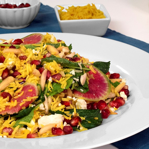 Saffron Royal Basmati, Kale and Pomegranate Salad