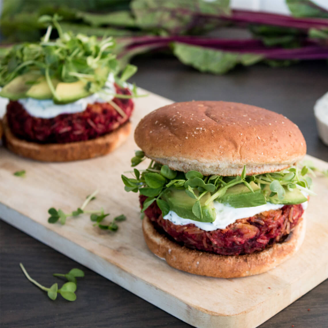 Red Beet and Brown Basmati Rice Burgers with Tzatziki
