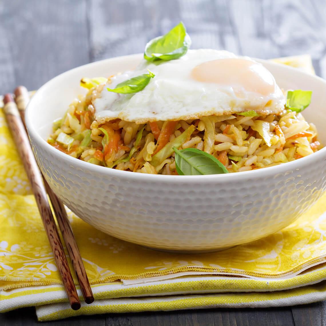 Egg and Basil Rice Bowl