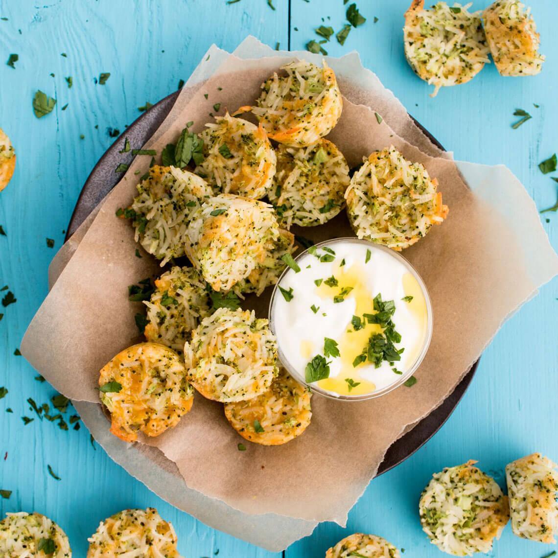 Rice and Cheddar Broccoli Bites