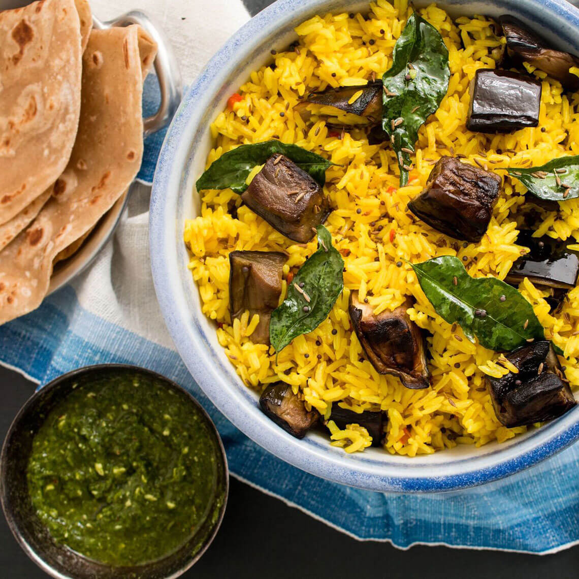 Indian Rice With Eggplant