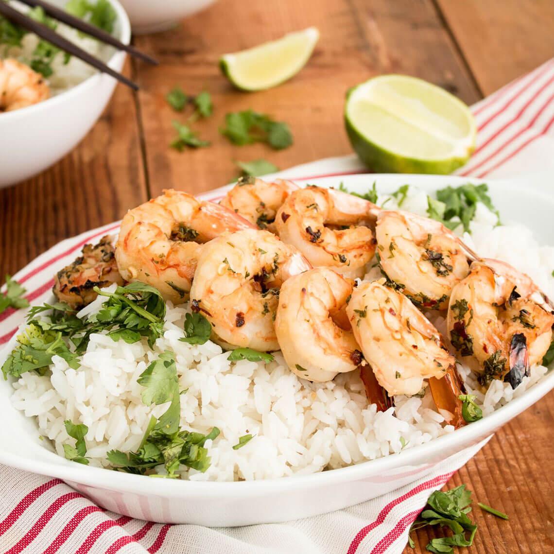 Coconut Rice with Satay Shrimp