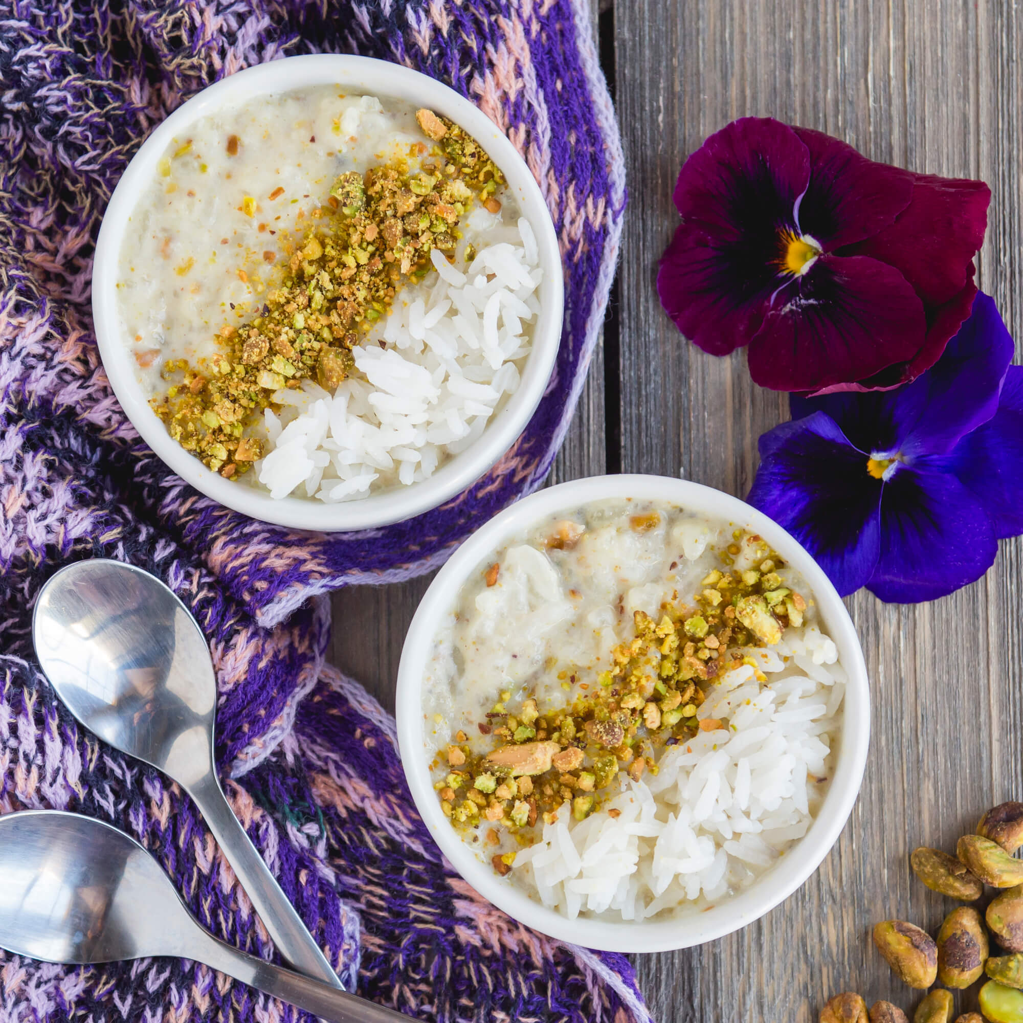Royal Jasmine Pistachio Rice Pudding