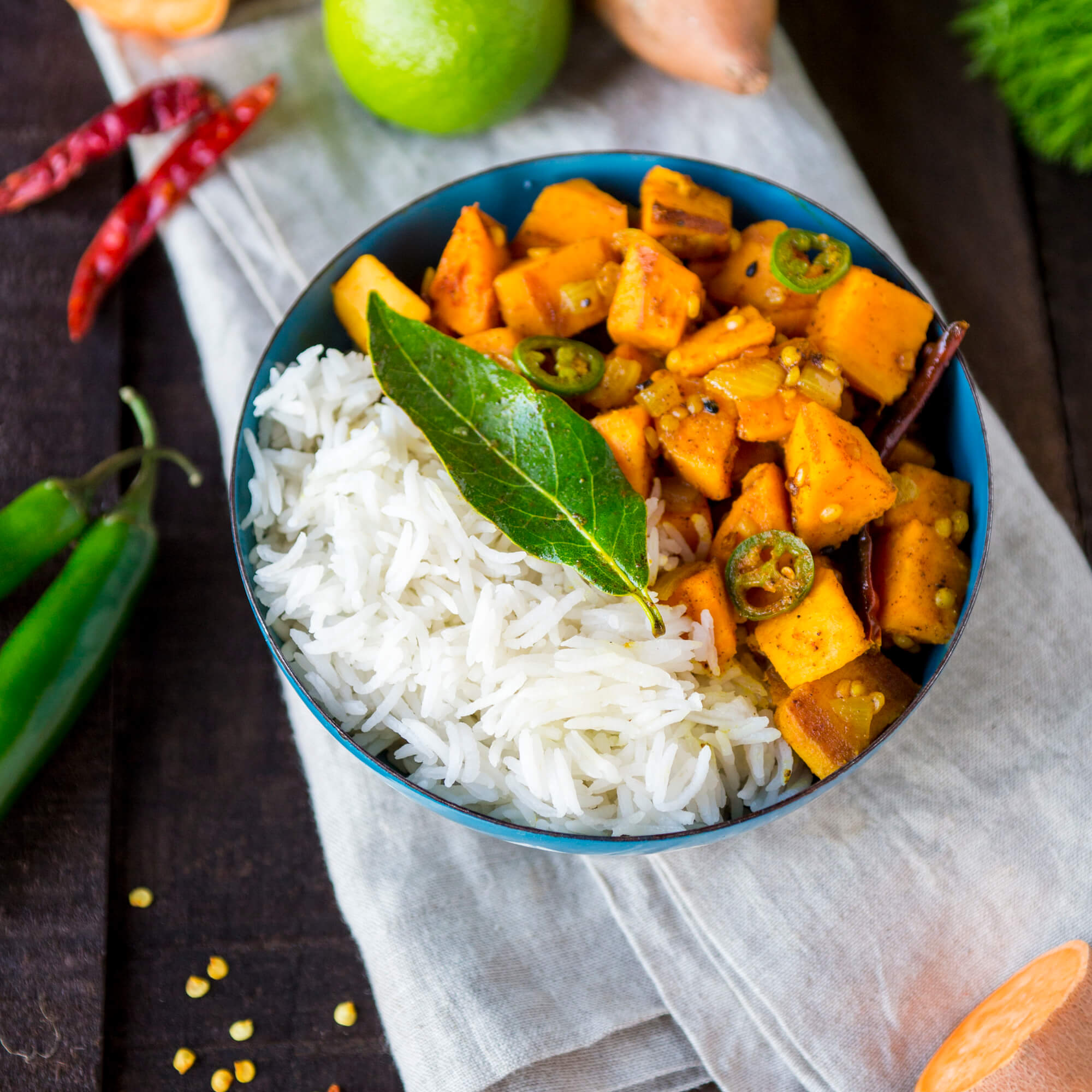 Sweet Potato Masala Curry with Royal Basmati Rice