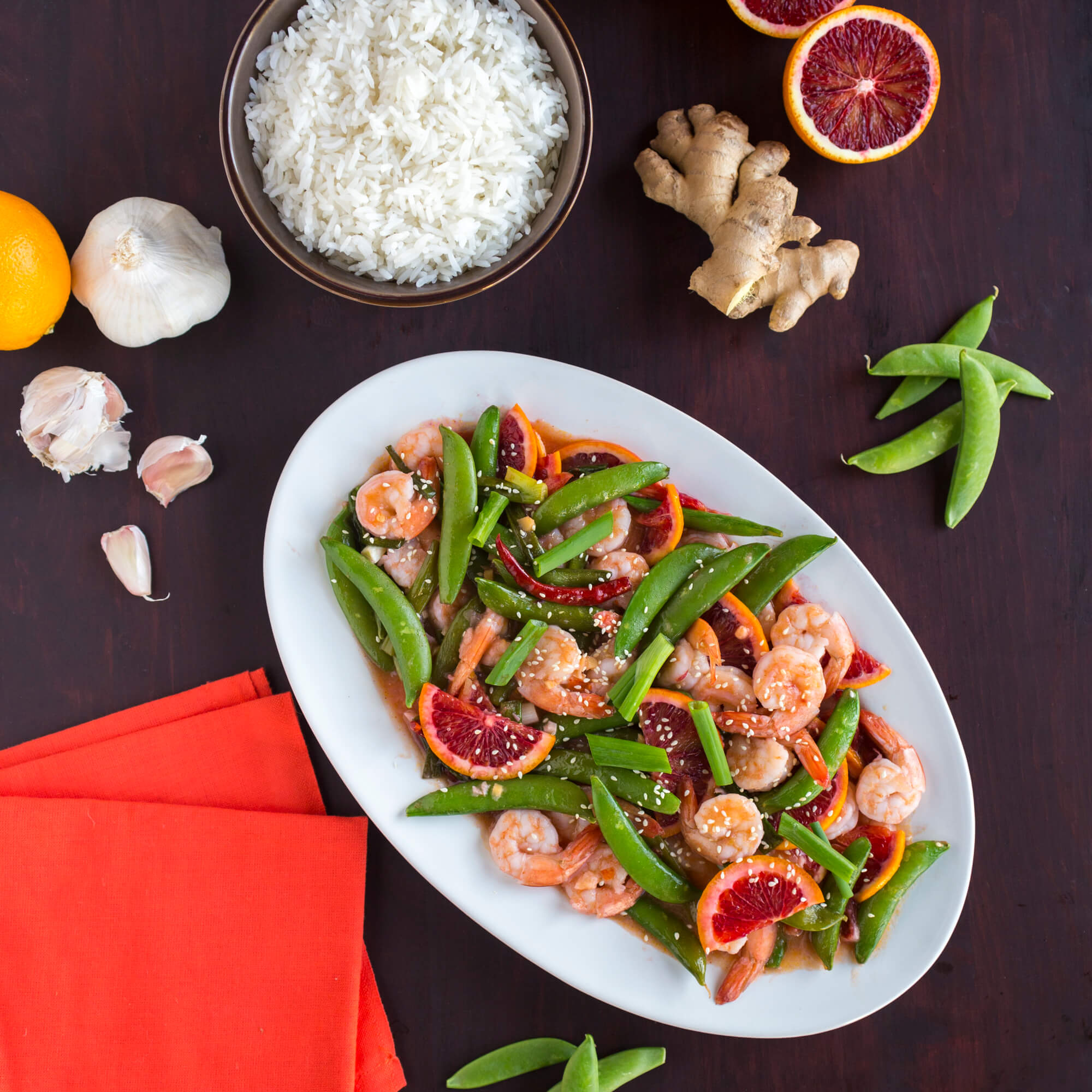 Shrimp with Blood Oranges, Snap Peas and Royal Jasmine Rice