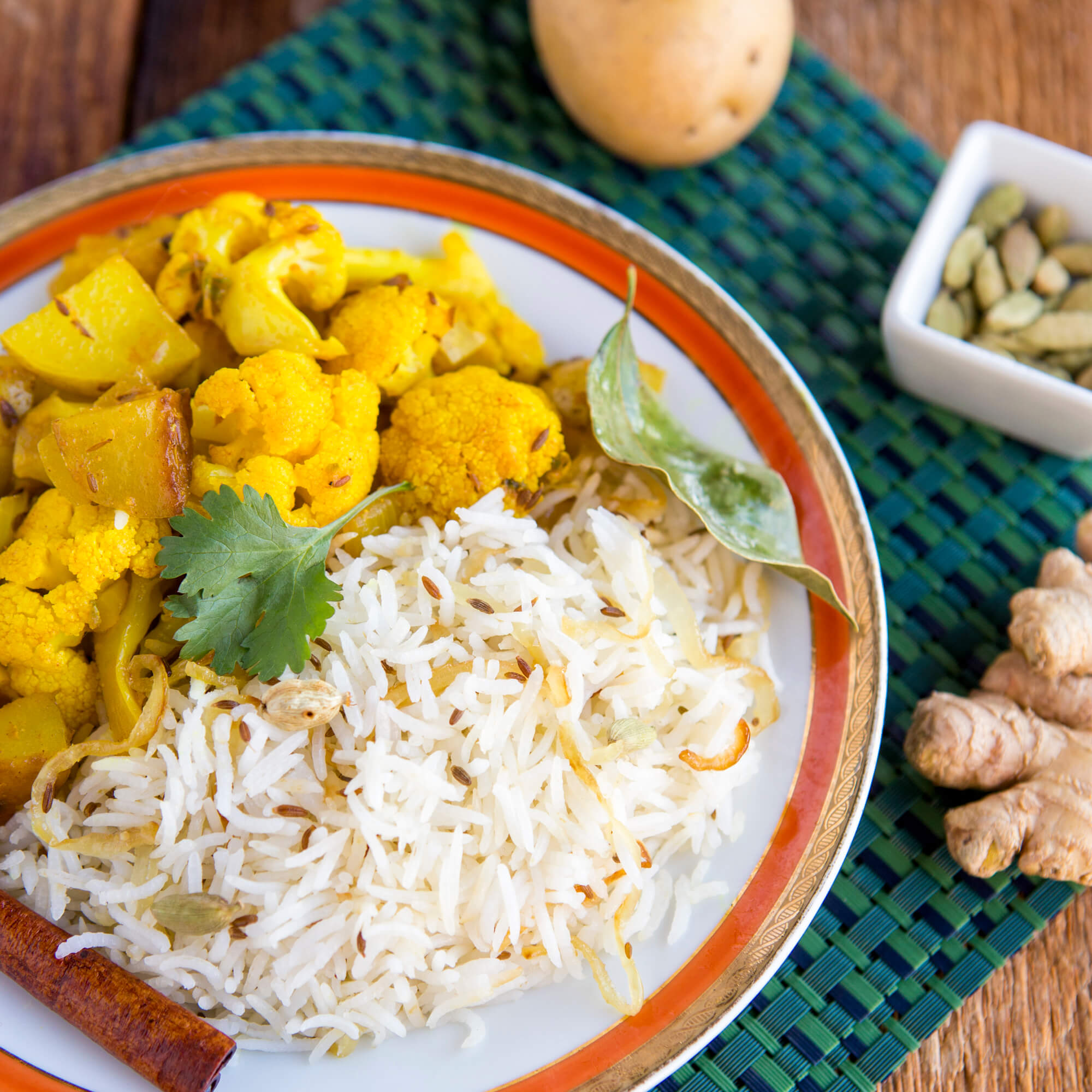 Aloo Gobi and Jeera Royal Basmati Rice