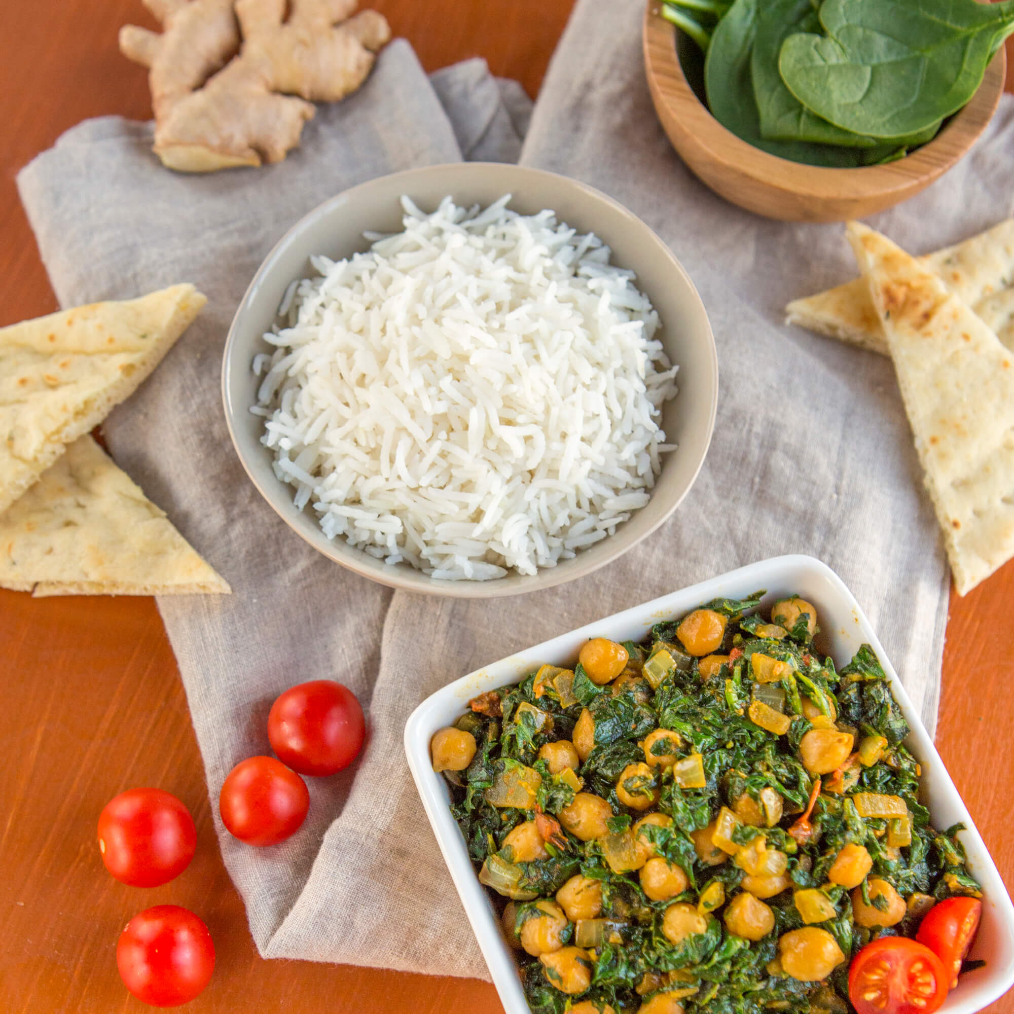 Chana Saag with Royal Basmati Rice