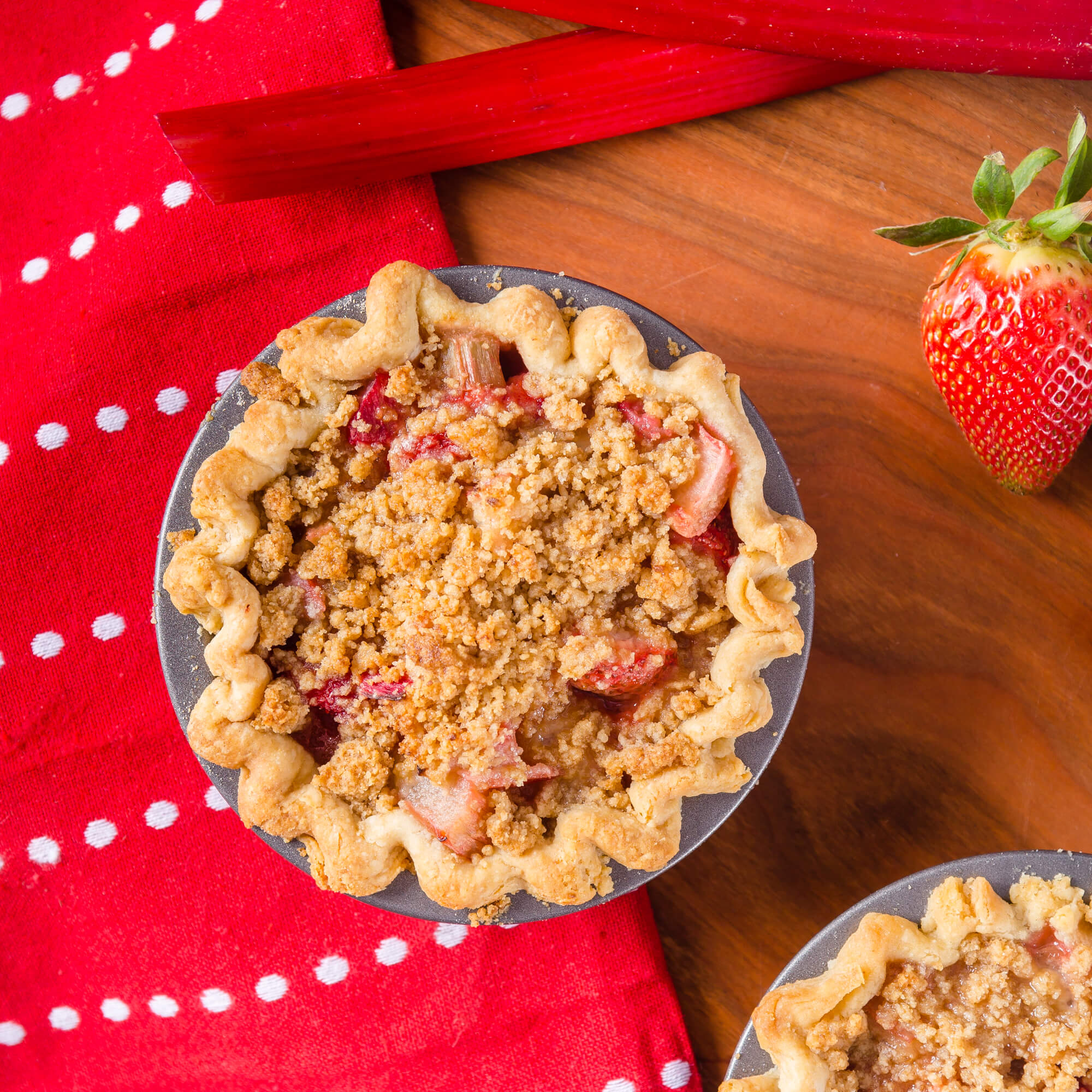 Strawberry and Rhubarb Crumble Mini Pies with Royal Sharbati Atta