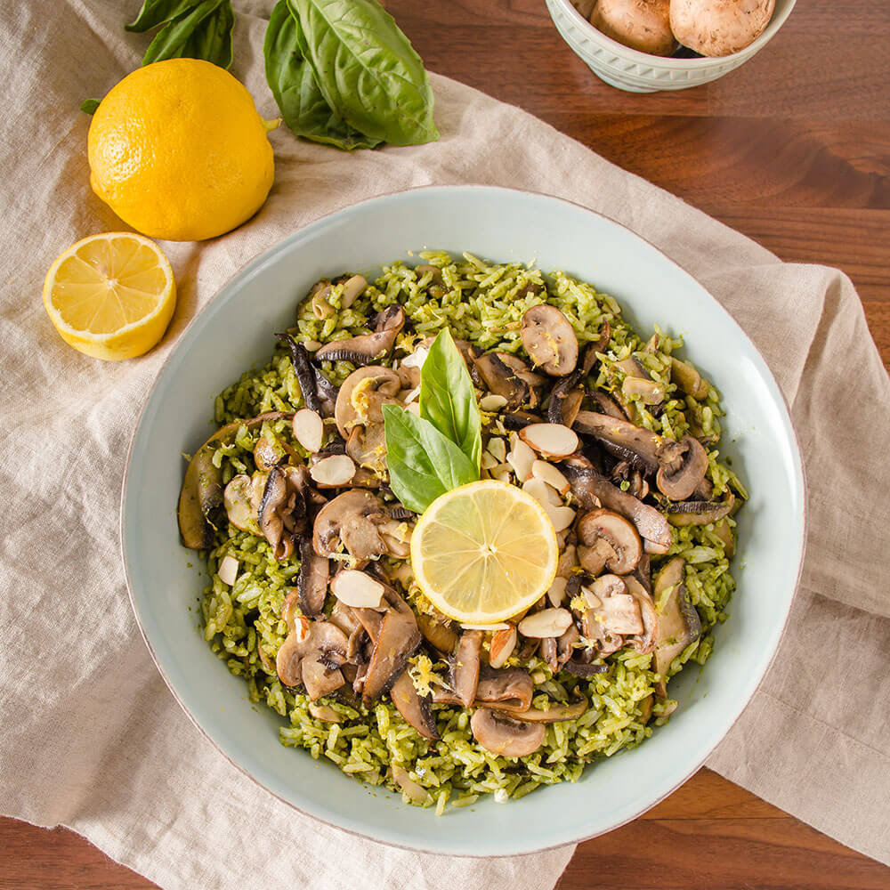 Earthy Mushroom Royal® Basmati Rice with Lemon Almond Pesto