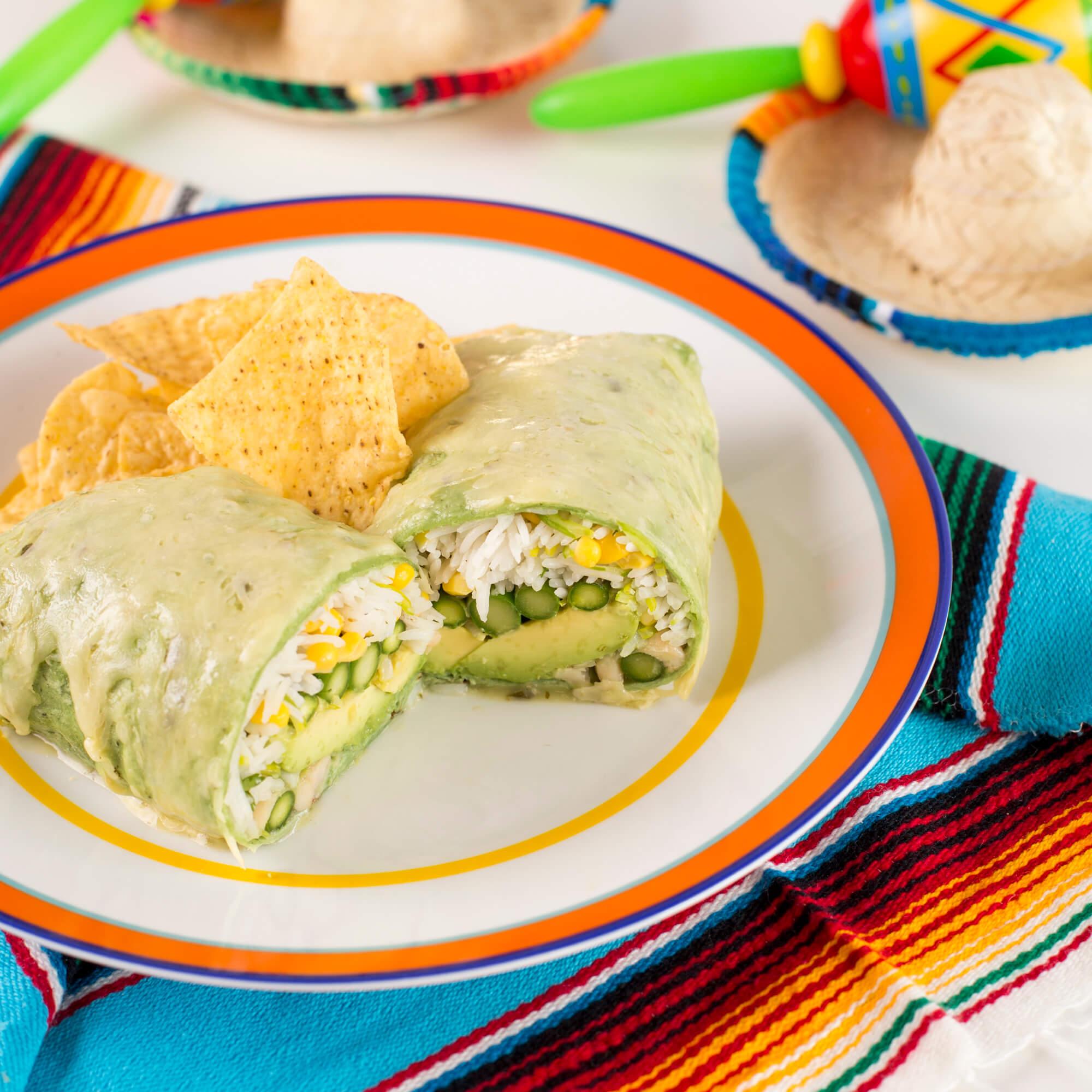 Green Royal Basmati Rice Burrito Enchilada Style