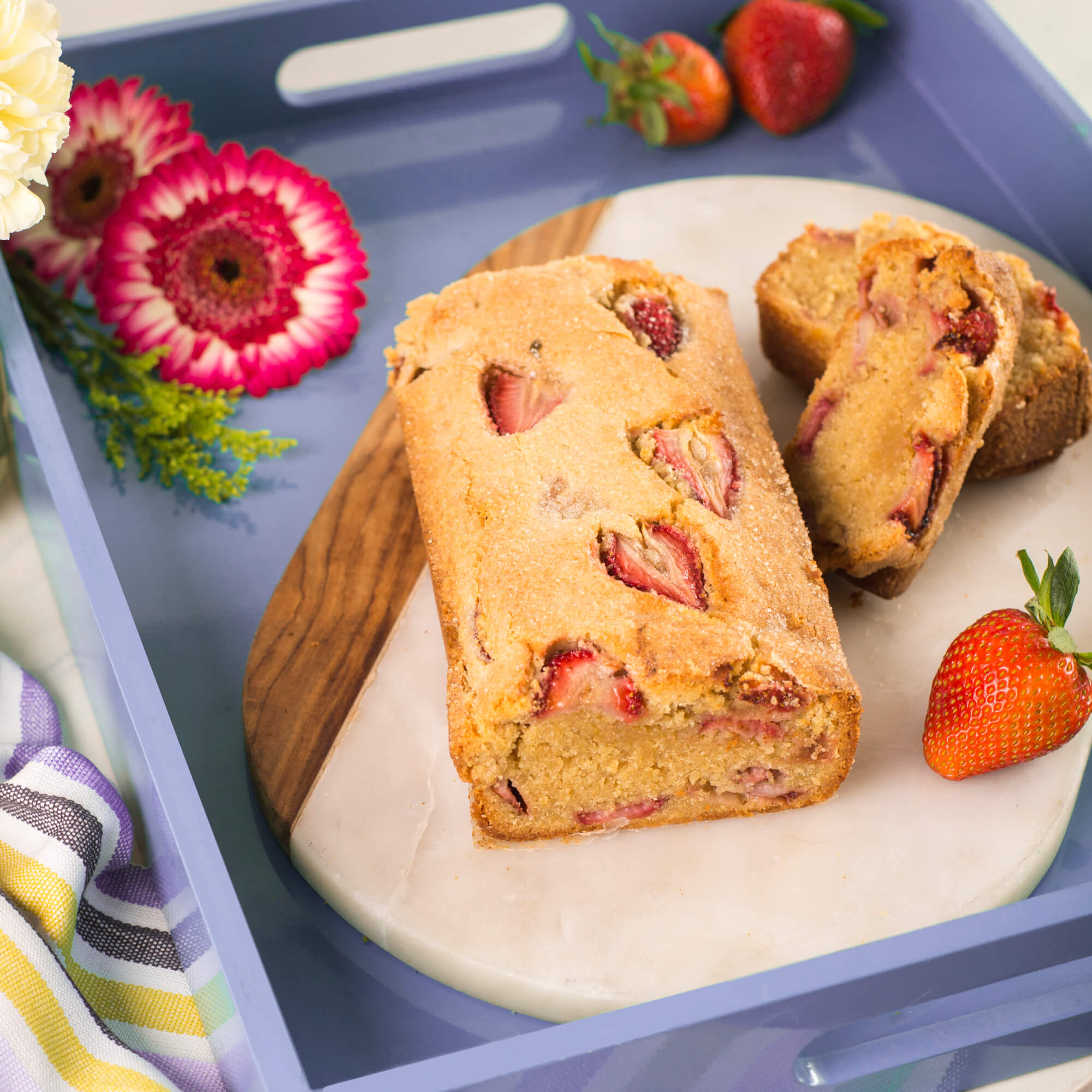 Strawberry Almond Bread with Royal Sharbati Atta