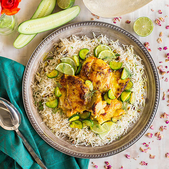 Persian Chicken with Lime, Turmeric, and Royal® Chef's Secret Long Grain Basmati Rice
