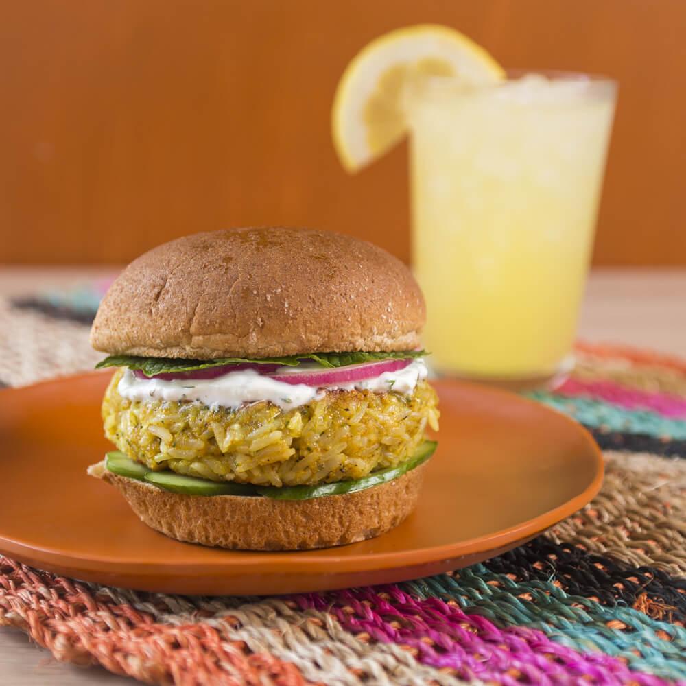 Curried Veggie Burger with Royal® Jasmine Rice