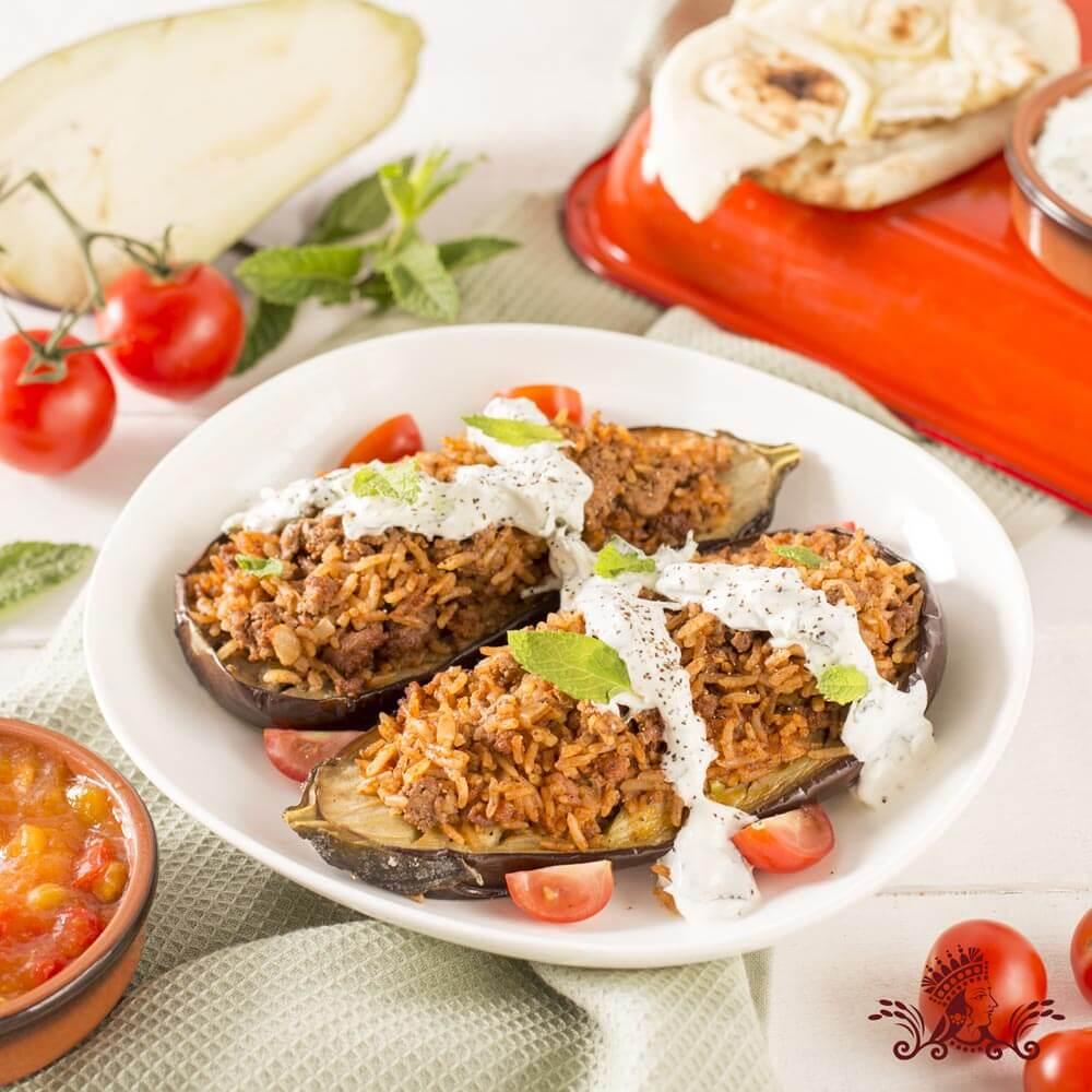 Lamb and Royal® Jasmine Rice Stuffed Eggplant with Greek Yogurt and Mint