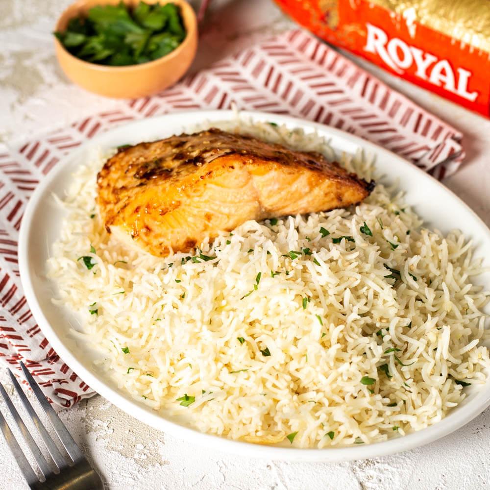 Sesame Garlic Basmati Rice with Oven Roasted Salmon