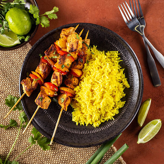 Coconut and Turmeric Basmati Rice with Red Curry Chicken Kabobs