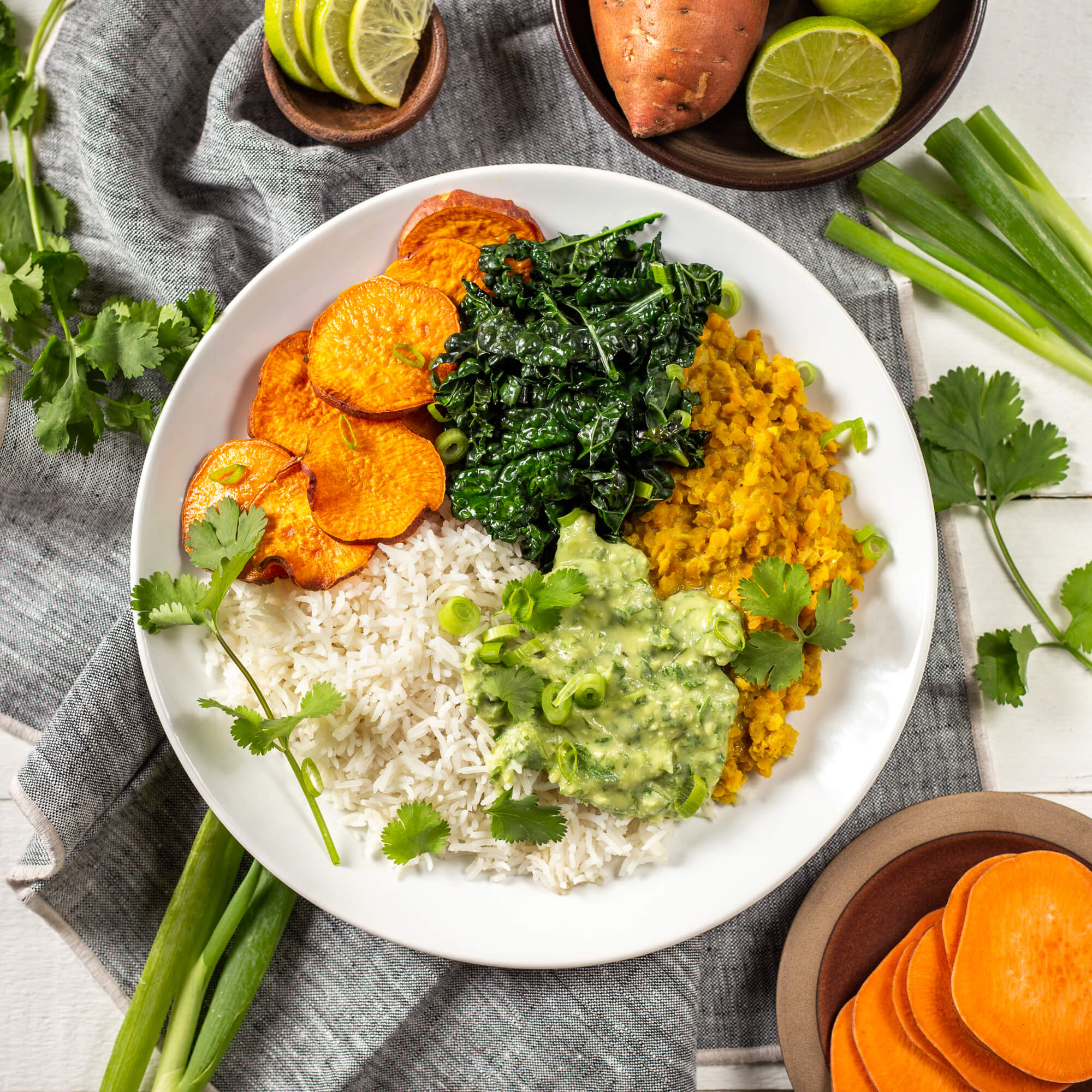 Lentil and Sweet Potato Bowl with Avocado Sauce