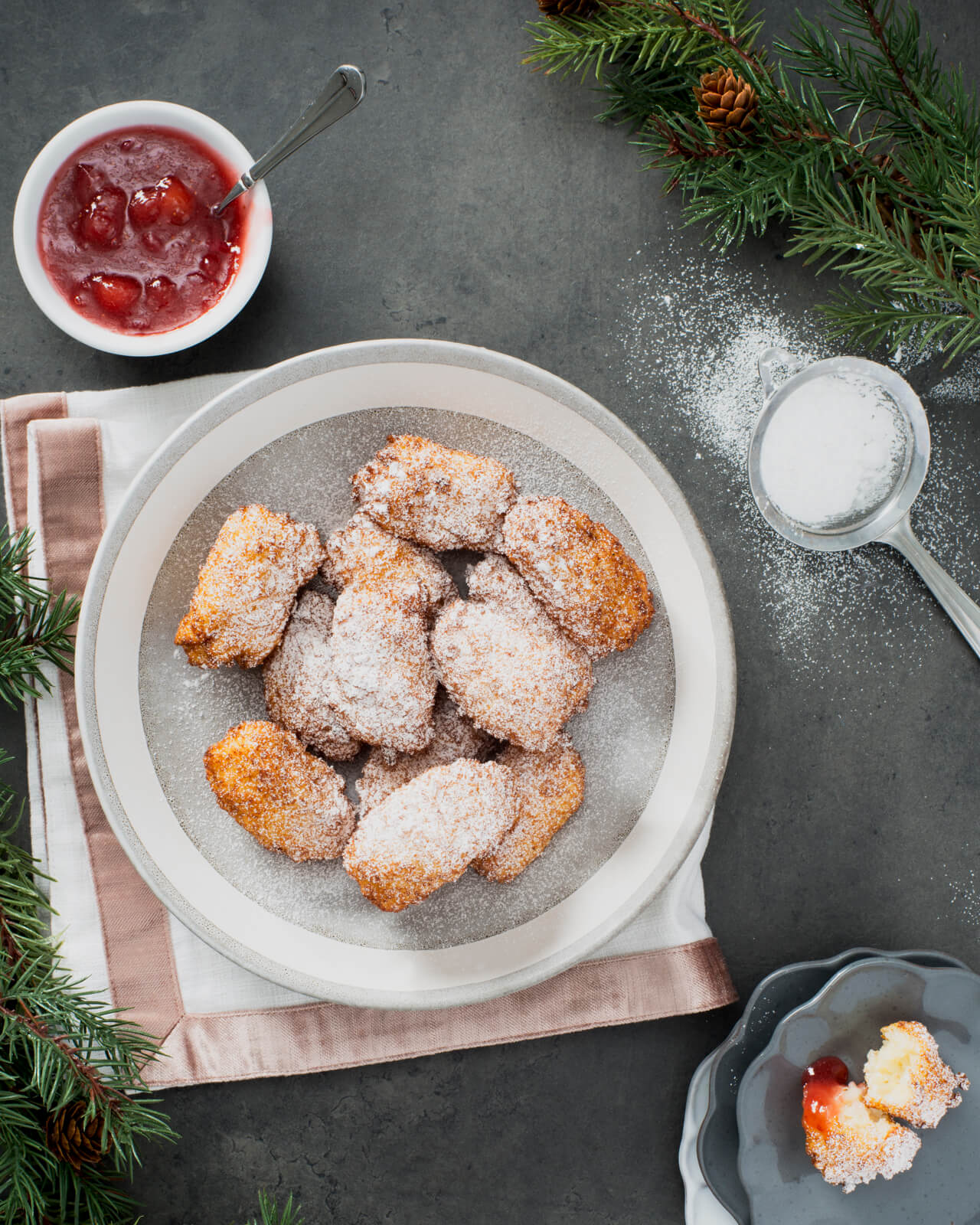 Royal Rice Pudding Fritters with Rhubarb and Strawberry Jam