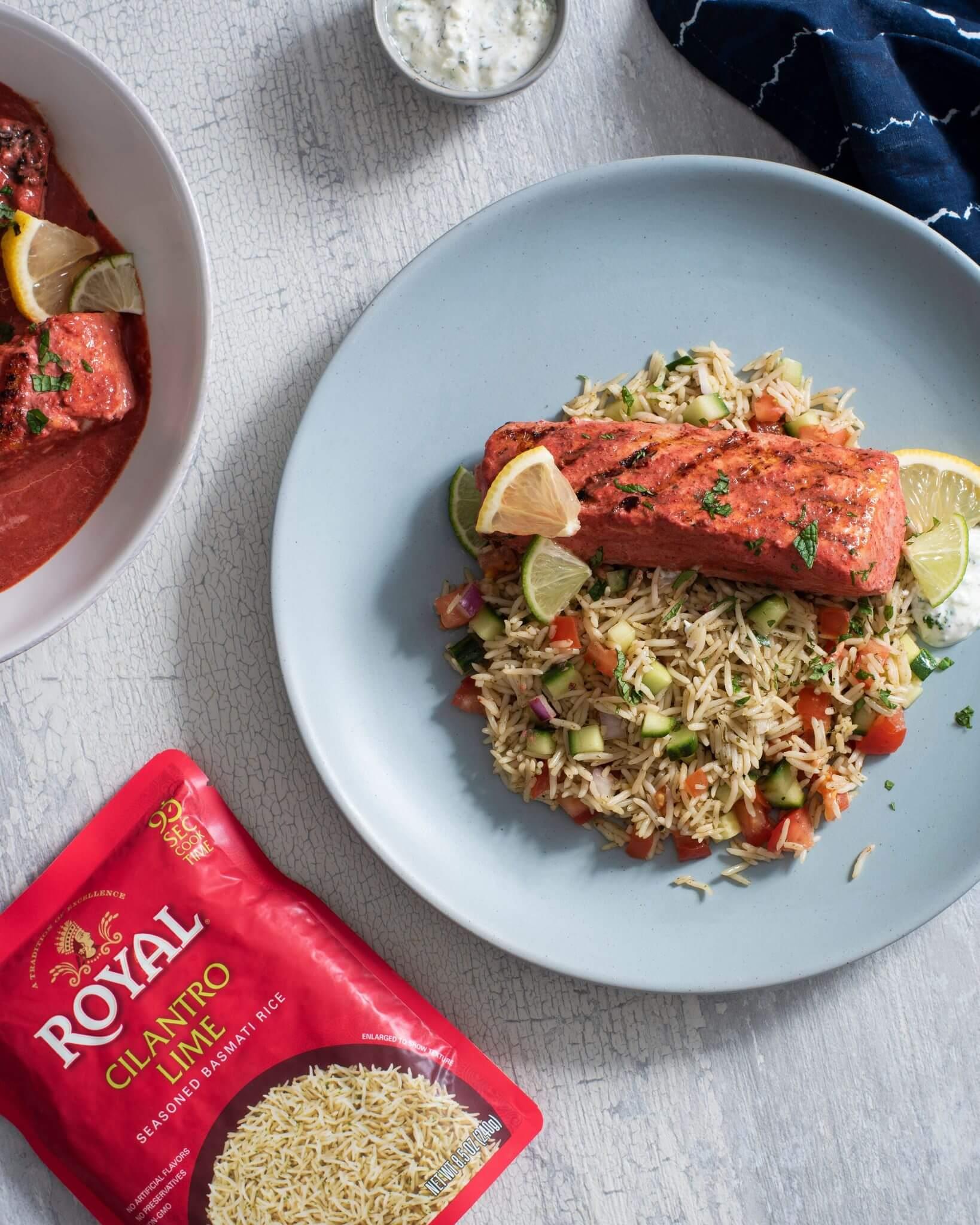 Tandoori Salmon with Cilantro Lime Rice