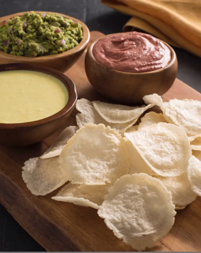 Homemade Rice Cracker with a Trio of Dips