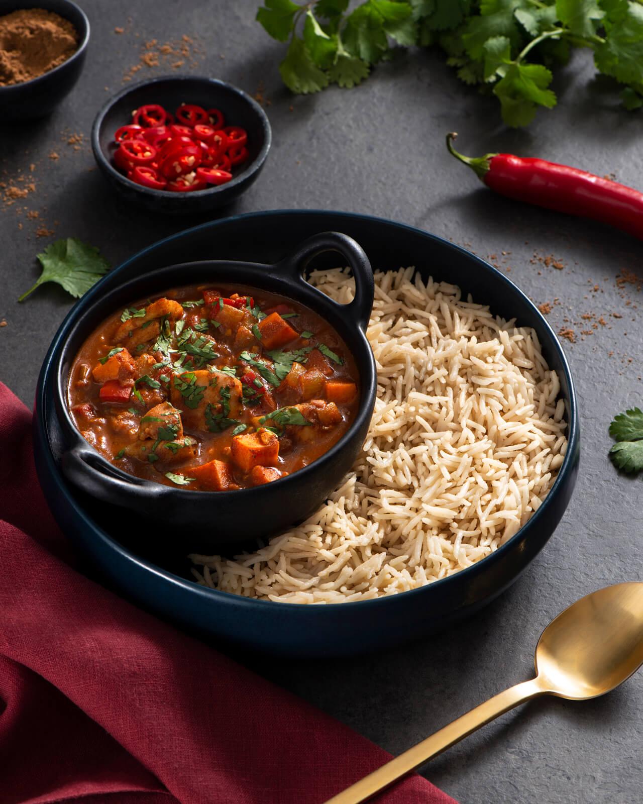 Weeknight Chicken Vindaloo with Garlic and Ghee Rice